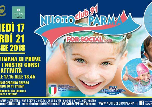 Nuoto Club 91 Parma: dal 17 arriva la settimana di prove gratuite